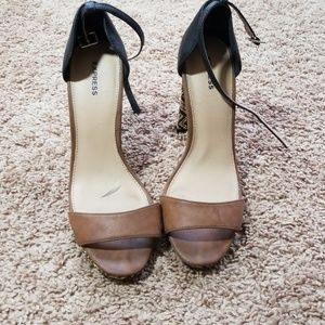 Express tan and black High heel open toe sandal